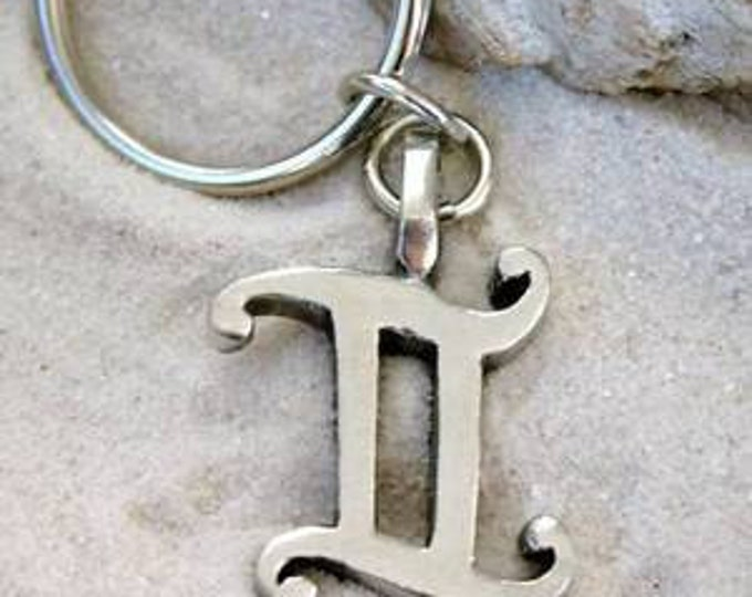 """Featured listing image: Pewter Gemini """"The Twins"""" Zodiac Astrology Sun Sign of May June Keychain Key Ring (27E)"""
