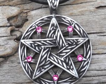 Pewter Double Pentagram Celtic Pagan Pentacle Pendant with Swarovski Crystal Pink Tourmaline OCTOBER Birthstone (56I)