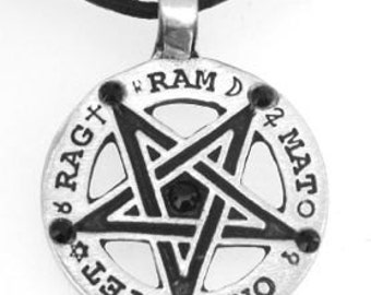 Pewter Inverted Pentagram Tetragrammaton Runes Pendant with Swarovski Black Onyx Crystal (55C)