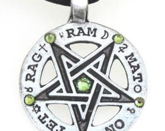 Pewter Inverted Pentagram Tetragrammaton Runes Pendant with Swarovski Crystal Peridot AUGUST Birthstones (55C)