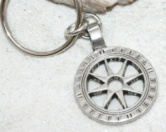Pewter Wheel of Life Tibetan Buddha Yoga Namaste Meditation Keychain Key Ring (31I-KC)
