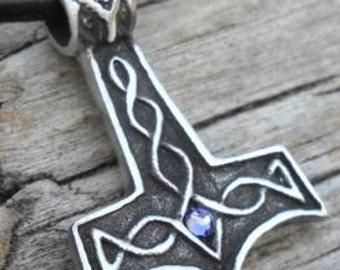 Pewter Thor's Hammer Mjolnir Norse Viking Pendant with Swarovski Crystal Lavender Tanzanite JUNE Birthstone (39K)