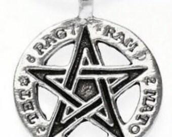 Pewter Pentagram Pagan Pentacle Tetragrammaton Runes Pendent (55H)