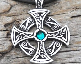 Pewter SOLAR CROSS Swarovski Crystal Celtic Druid Irish Emerald Green MAY Birthstone Pendant