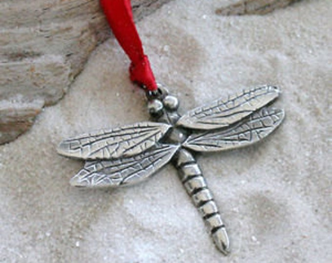 Featured listing image: Pewter Dragonfly Fairy Christmas Ornament and Holiday Decoration (323)