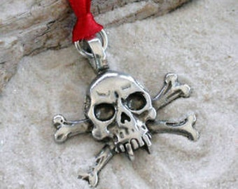 Pewter Skull and Crossbones Gothic Pirate Biker Christmas Ornament and Holiday Decoration (23E)