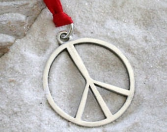 Pewter Peace Sign Yoga Love Hippie Namaste Meditation Christmas Ornament and Holiday Decoration (321)