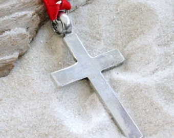 Pewter Cross Christian Shiny Silver Christmas Ornament and Holiday Decoration (316)