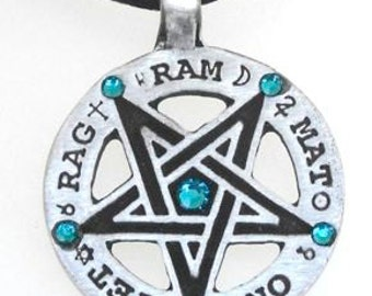 Pewter Inverted Pentagram Tetragrammaton Runes Pendant with Swarovski Crystal Blue Topaz DECEMBER Birthstones (55C)