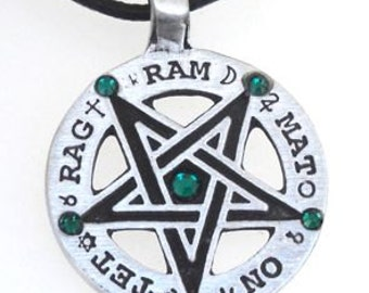 Pewter Inverted Pentagram Tetragrammaton Runes Pendant with Swarovski Crystal Emerald Green MAY Birthstones (55C)