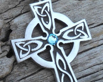 Pewter Celtic Cross Irish Wales Pendant with Swarovski Crystal Aquamarine Blue MARCH Birthstone (300)