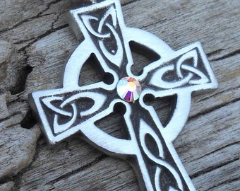Pewter Celtic Cross Irish Wales Pendant with Swarovski Crystal Aurora Borealis APRIL Birthstone (300)