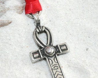 Pewter Ankh Egyptian Cross w/ Hieroglyphic Symbols Egypt Christmas Ornament and Holiday Decoration (35B)