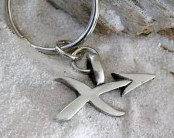 "Pewter Sagittarius ""The Archer"" Zodiac Astrology Sun Sign of November December Keychain Key Ring (28E)"