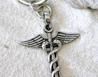 Pewter Caduceus Medical Nurse RN DR Snake Rod Keychain (35A)