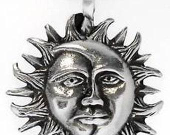 Pewter Sun Moon Face Lunar Solar Celestial Pagan Pendant (21E)