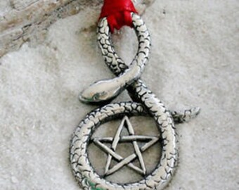Pewter Snake Pentagram Gothic Pagan Wiccan Pentacle Christmas Ornament and Holiday Decoration (30F)