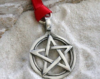 Pewter Pentagram Pagan Wiccan Pentacle Christmas Ornament and Holiday Decoration (29I)