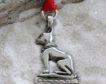 Pewter Egyptian Cat Goddess Bast Egypt Christmas Ornament and Holiday Decoration (48A)