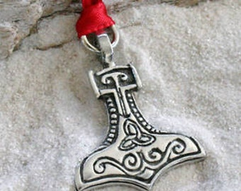 Pewter Thor's Hammer Mjolnir Norse Viking w/ Celtic Triquetra Christmas Ornament and Holiday Decoration (22C)