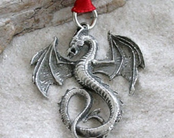 Pewter Dragon Gothic Fantasy Christmas Ornament and Holiday Decoration  (52G)