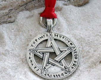 Pewter Pentagram Pagan Wiccan Pentacle with Ancient Runes Christmas Ornament and Holiday Decoration (50G)