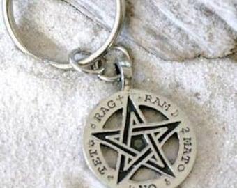 Pewter Pentagram Pagan Pentacle Tetragrammaton Runes Keychain (55H)