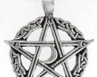 Pentagram Pagan Crescent Moon Pentacle Pewter Pendent Necklace (304)