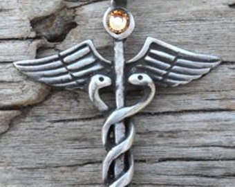 Pewter Caduceus Medical Nurse RN DR Snake Rod Pendant with Swarovski Crystal Gold Topaz NOVEMBER Birthstone (35A)