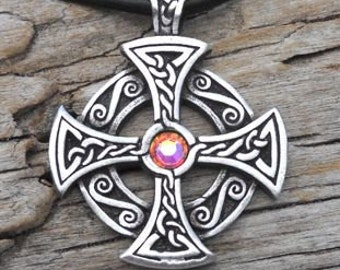 Pewter SOLAR CROSS Swarovski Crystal Celtic Druid Irish Aurora Borealis APRIL Birthstone Pendant