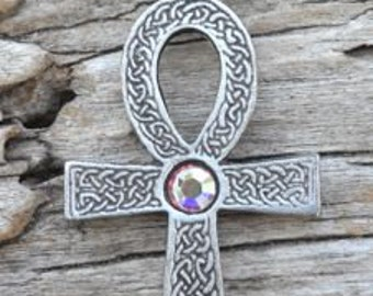 Pewter Ankh Egyptian Cross with Celtic Knots Pendant with Swarovski Crystal Aurora Borealis APRIL Birthstone (31G)