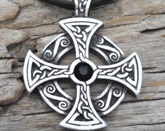 Pewter SOLAR CROSS Swarovski Black Onyx Crystal Pendant, Celtic Druid Irish Gothic Amulet