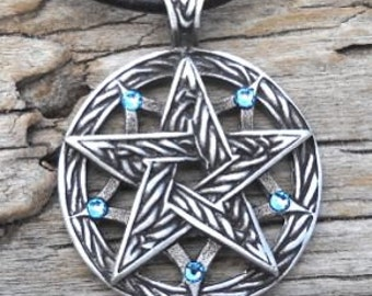 Pewter Double Pentagram Celtic Pagan Pentacle Pendant with Swarovski Crystal Aquamarine Blue MARCH Birthstone (56I)