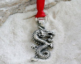 Pewter Chinese China Dragon Christmas Ornament and Holiday Decoration (44G)