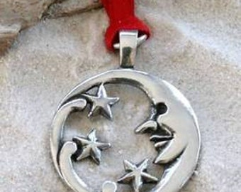 Pewter Moon Face and Stars Lunar Celestial Pagan Christmas Ornament and Holiday Decoration (39E)