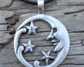 Pewter Moon Face and Stars Lunar Celestial Pagan Pendant with Swarovski Crystal Aurora Borealis APRIL Birthstone (39E)