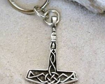 Pewter Thor's Hammer Mjolnir Norse Viking Keychain (23A-KC)