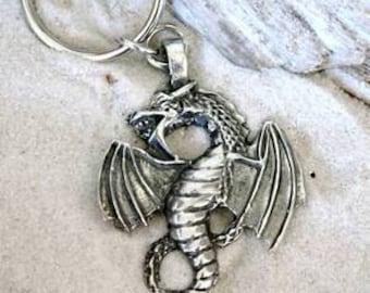 Pewter Dragon Fantasy Magical Gothic Keychain Key Ring (23G)