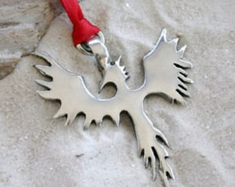 Pewter Phoenix Firebird Christmas Ornament and Holiday Decoration (52H)