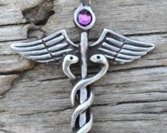 Pewter Caduceus Medical Nurse RN DR Snake Rod Pendant with Swarovski Crystal Purple Amethyst FEBRUARY Birthstone (35A)