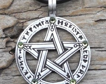 Pewter Pentagram Swarovski Crystal Pendant, Pagan Wiccan Pentacle with Runes and Peridot AUGUST Birthstone (50G)