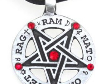Pewter Inverted Pentagram Tetragrammaton Runes Pendant with Swarovski Crystal Ruby Red JULY Birthstones (55C)