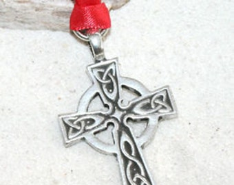 Pewter Celtic Cross Irish Wales Christmas Ornament and Holiday Decoration (300)