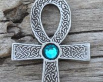 Pewter Ankh Egyptian Cross with Celtic Knots Pendant with Swarovski Crystal Blue Topaz DECEMBER Birthstone (31G)