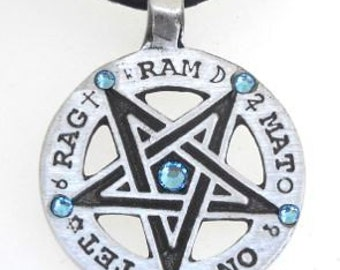 Pewter Inverted Pentagram Tetragrammaton Runes Pendant with Swarovski Crystal Aquamarine Blue MARCH Birthstones (55C)