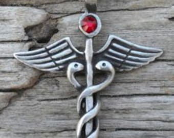 Pewter Caduceus Medical Nurse RN DR Snake Rod Pendant with Swarovski Crystal Red Garnet JANUARY Birthstone (35A)
