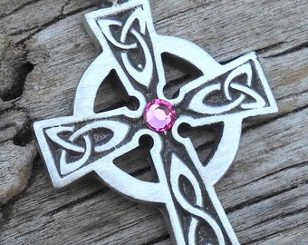 Pewter Celtic Cross Irish Wales Pendant with Swarovski Crystal Pink Tourmaline OCTOBER Birthstone (300)