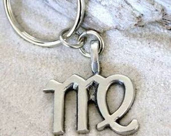 "Pewter Virgo ""The Virgin"" Zodiac Astrology Sun Sign of August September Keychain Key Ring (28B)"