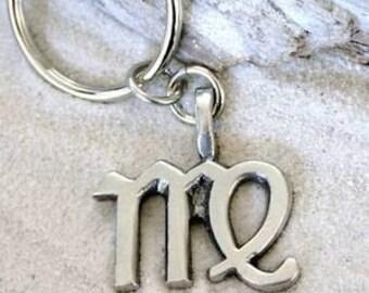 """Pewter Virgo """"The Virgin"""" Zodiac Astrology Sun Sign of August September Keychain Key Ring (28B)"""