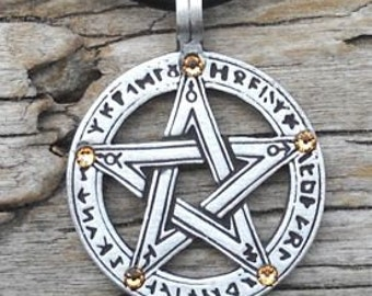 Pewter Pentagram Swarovski Crystal Pendant, Pagan Wiccan Pentacle with Runes and Gold Topaz NOVEMBER Birthstone (50G)